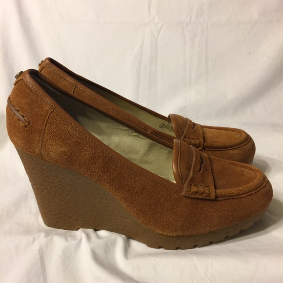 51c877a03c67 Michael Kors Rory Suede wedge penny loafer 9.5
